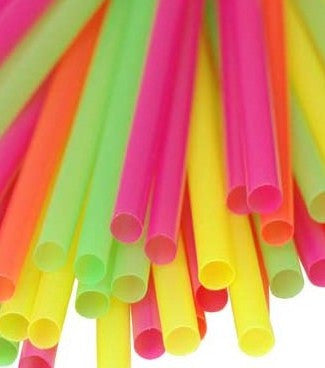 True Craftware Assorted Neon Colors - 400 Disposable Drinking Straws - 8 Inch
