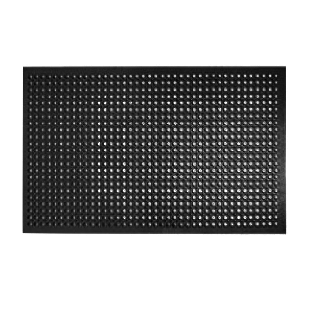 "True Craftware - 3' x 5' Foot - 7/8"" Thickness - Heavy Duty Anti-Fatigue Black Rubber Floor Drainage Mat for Restaurants, Bars and Commercial Use"