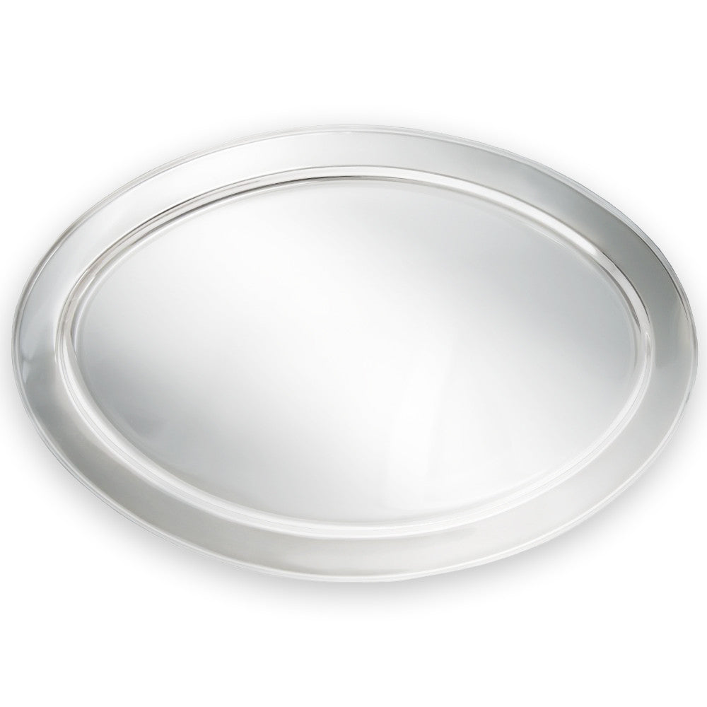 "True Craftware Oval Stainless Steel Platter - Serving Tray - 21 3/4"" x 14 1/2"""