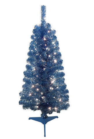 Cheer 4 foot Tinsel Blue Pre Lit Christmas Tree - Artxmedical