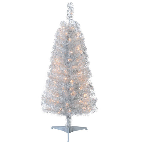 Cheer 4 foot Tinsel  Silver Pre Lit Tree - Artxmedical