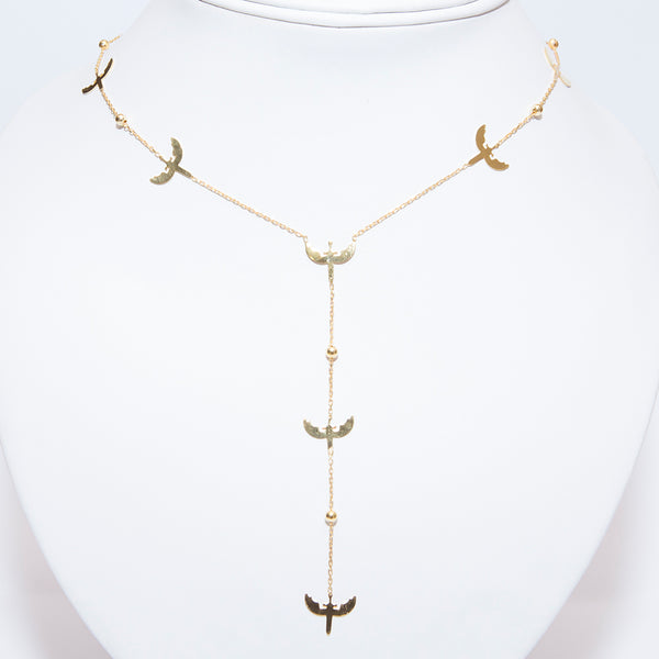 Gold Plated Drop Bird Necklace