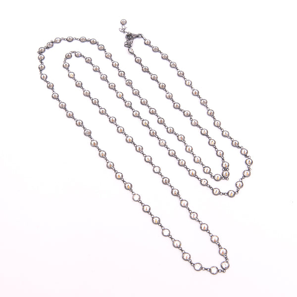 Rhodium Plated Long Necklace