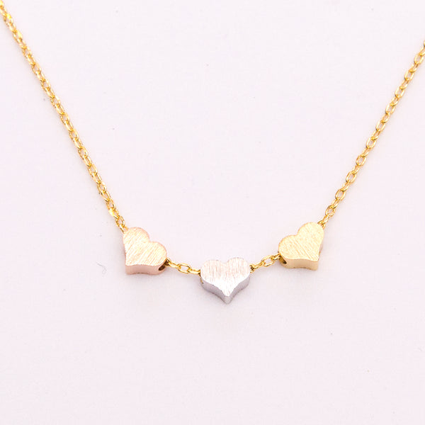 Gold Tone Necklace with Hearts