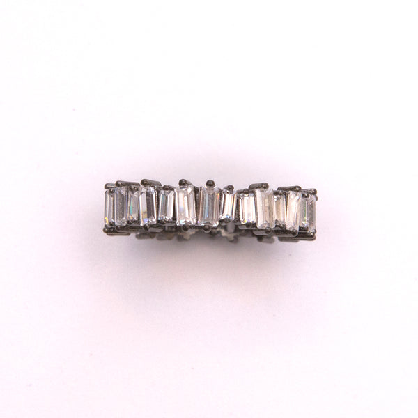 Rhodium Plated Ring with Baguettes