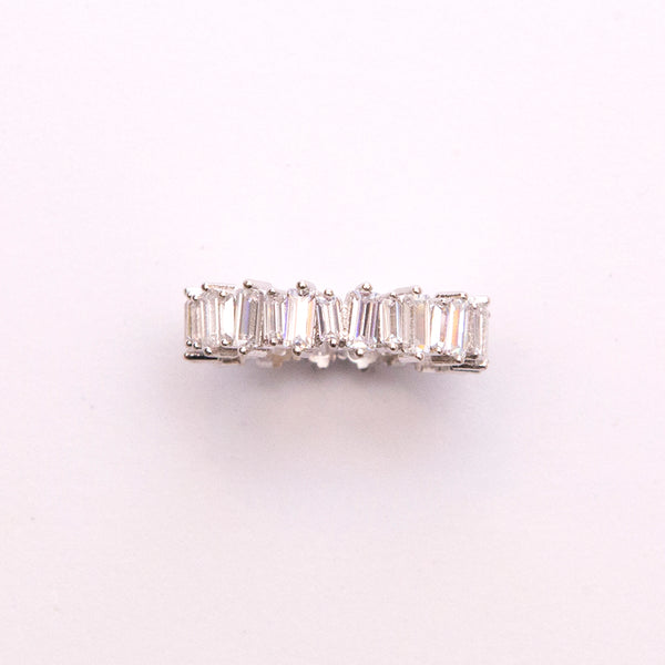 White Gold Plated Ring with Baguettes