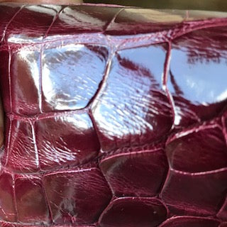 burgundy American alligator skin