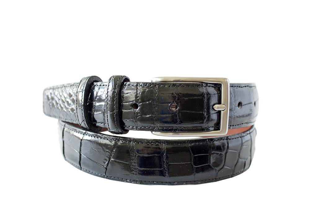 Classic Alligator Mens Belt, Black - Accenti Leather