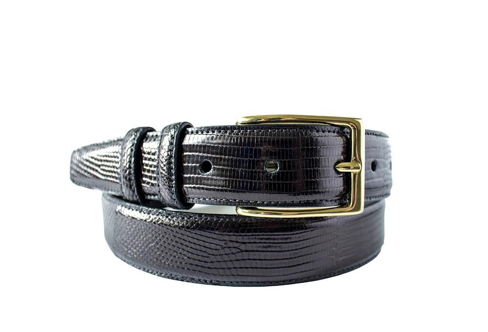 Classic Lizard Mens Belt, Black - Accenti Leather