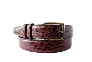 Classic Lizard Mens Belt, Bordeaux - Accenti Leather