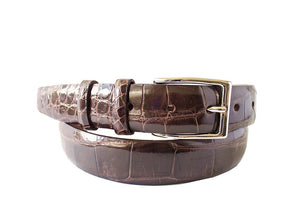 Signature Alligator Mens Belt, Brown - Accenti Leather