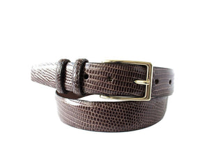 Signature Lizard Mens Belt, Brown - Accenti Leather