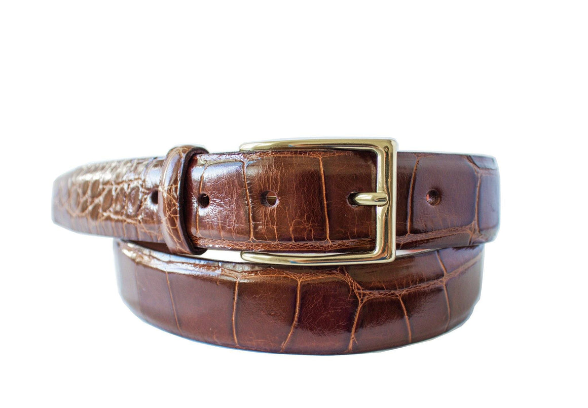 Signature Alligator Mens Belt, Cognac - Accenti Leather