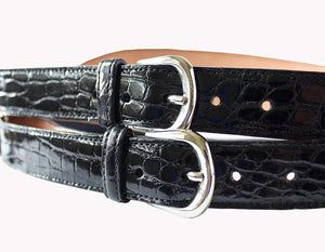 Classic Alligator Mens Suspenders, Black - Accenti Leather