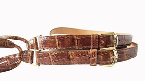 Classic Alligator Mens Suspenders, Cognac - Accenti Leather