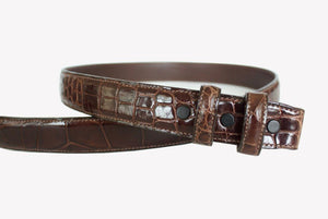 Alligator Strap for Tiffany Slide Buckle, Brown - Accenti Leather