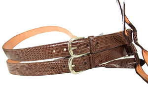 Classic Lizard Mens Suspenders, Brown - Accenti Leather