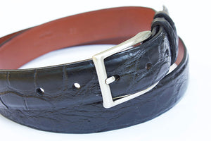 black matte alligator mens belt