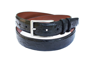Signature Matte Alligator Mens Belt, Black - Accenti Leather