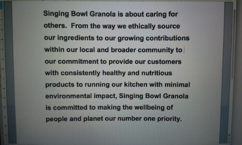 Singing Bowl Granola is about caring for others.