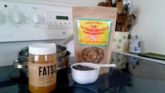 Chocolate, Fatso peanut butter and Singing Bowl NO GRAIN Granola ready to mix in double boiler.