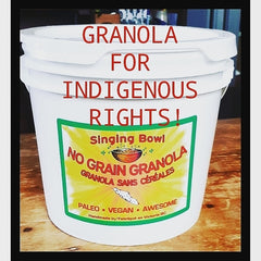 Granola for Indigenous Rights in reusable bucket.