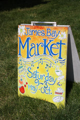 Sign welcoming visitors James Bay Market in Victoria BC