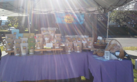The sun shining on my booth at the James Bay Market