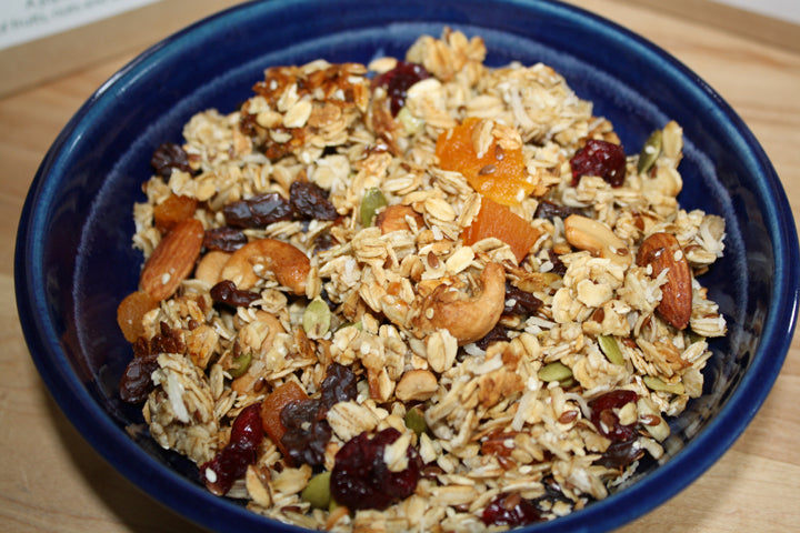 A bowl of Morning Chorus, fruit and nut granola