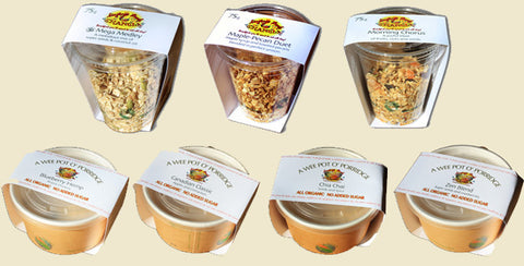 Individual servings of granola and organic oatmeal cereal