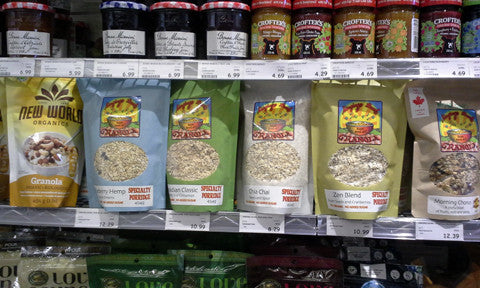 Singing Bowl Granola products on the grocery shelves