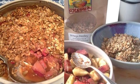 The ingredients and finished delights of rhubarb & Apple crumble made with Mega Medley Granola