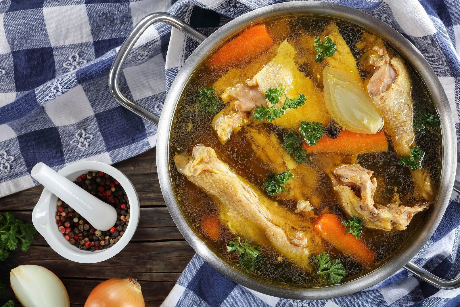 Chicken soup bone broth