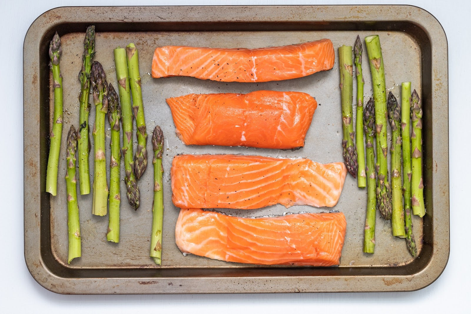 A sheet pan of salmon and asparagus
