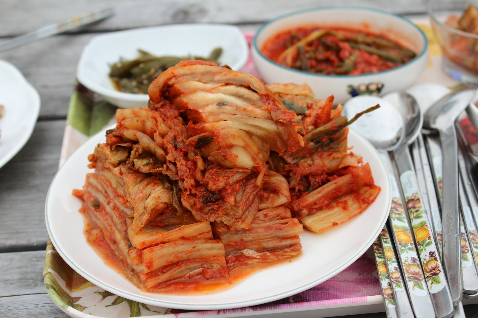 A plate of kimchi, a source of vegan probiotics