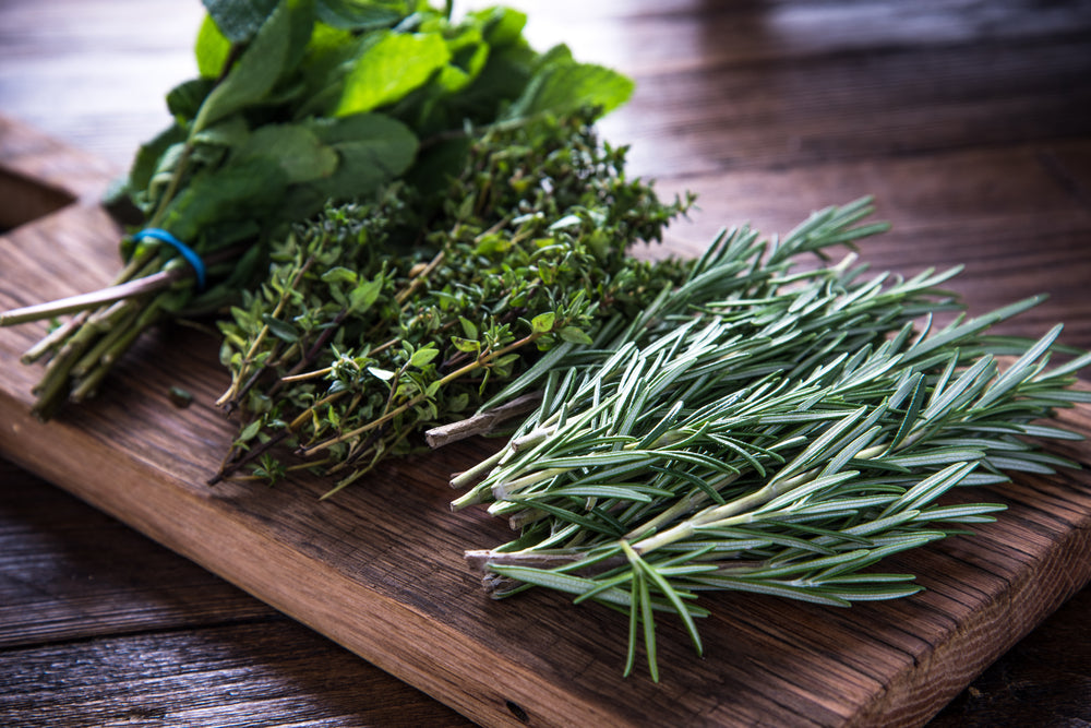 Trio of herb bunches including mint, oregano, and rosemary on a cutting board