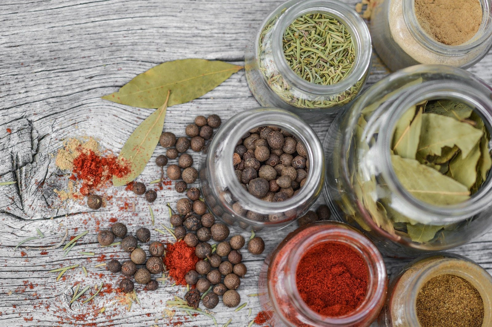 Herbs for inflammation: jars of herbs and spices