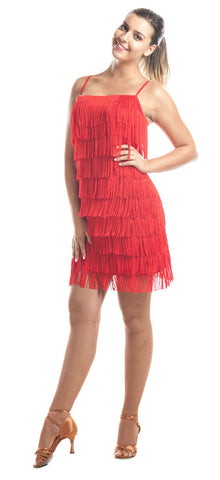 red fringe dress dance style