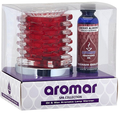 Aromar Gift Set Glass Deco Electric Oil Warmer + 2oz Fragrance Oil