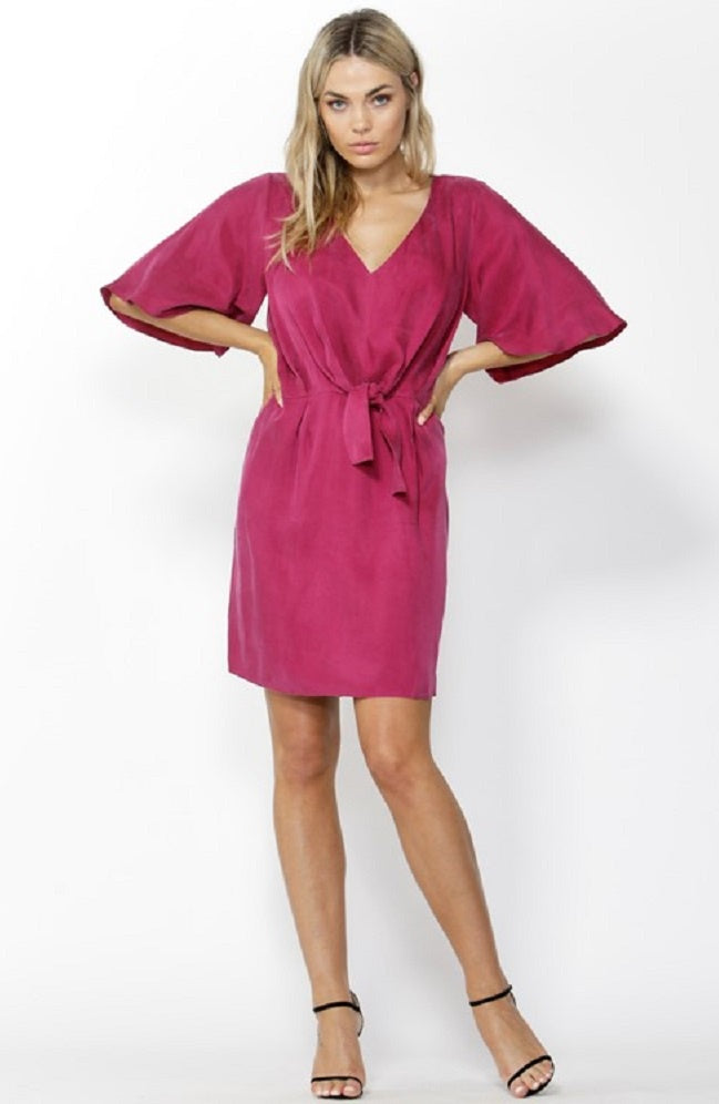 Must-Have Tie Front Dress - Deep Magenta