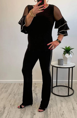 Black Diamante Pant