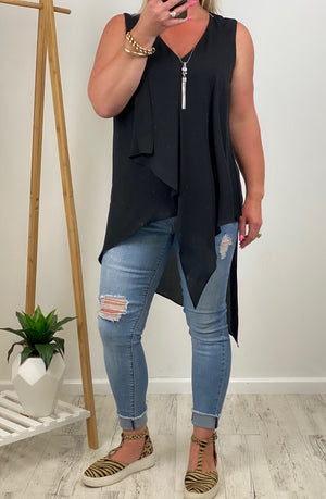 Layered V Neck Sleeveless Tunic