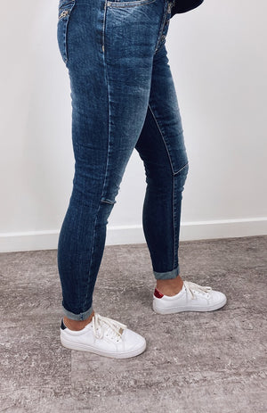 Italian Star Button Jean - Wash Denim