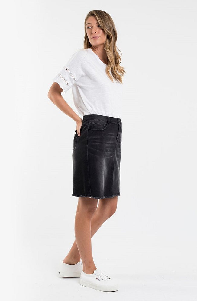 Kiama Denim Skirt - Washed Black