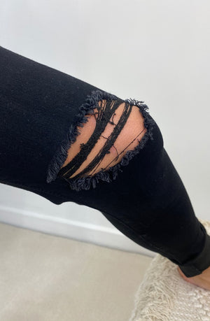 Cleo High Rise Ripped Knees - Black
