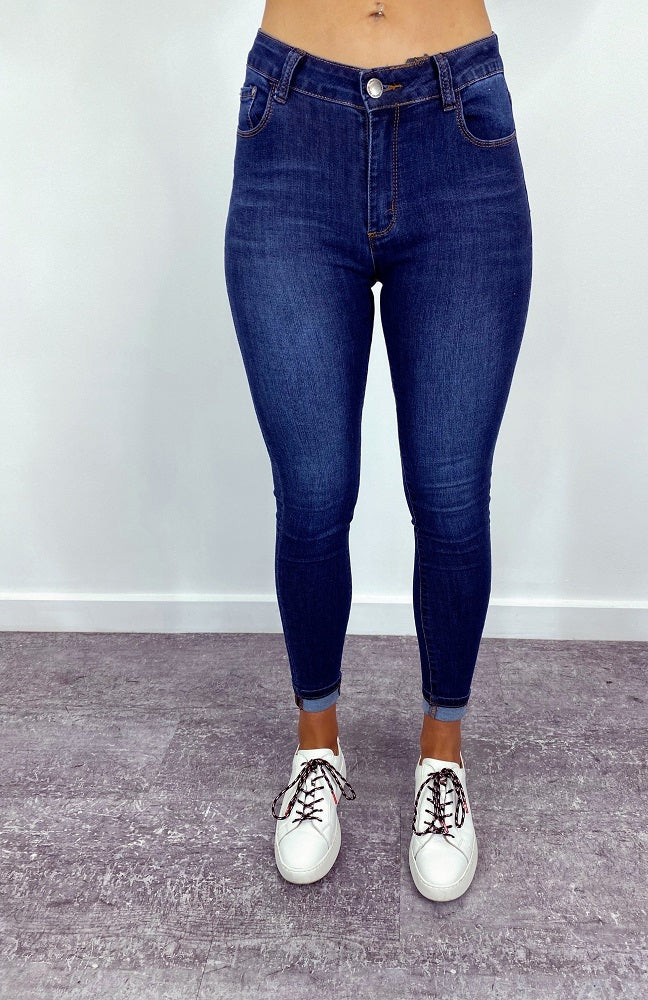 Cleo High Rise Skinny - Dark Denim