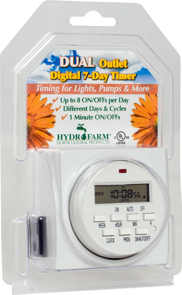 Hydrofarm Dual Outlet 7-Day Grounded Digital Programmable Timer, 1725W, 15A, 1 Minute On/Off