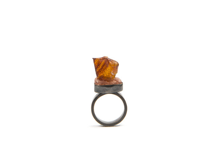 Ring, Oxidised Sterling Silver, oxidised brass, and plastic ring, Dirt Gallery, Renee Hope, Jewellery, artist, online gallery, image on a crisp white background