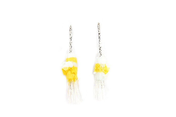 The Miami Dream Series Jewellery, sterling silver, resin and cellophane earrings, Chloe Rose Taylor, artist, jewellery, jeweller, Dirt Gallery, online gallery, Artists, artworks, yellow and white.