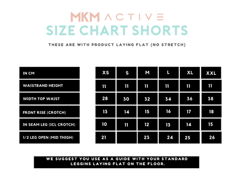 MKM ACTIVE SIZE CHART SHORTS